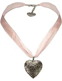 Alpenflüstern Organza-Trachtenkette Amulett-Herz Trachtenherz - Damen-Trachtenschmuck Dirndlkette in traditionellen Farben DHK080