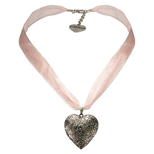 Alpenflüstern Organza-Trachtenkette Amulett-Herz Trachtenherz - Damen-Trachtenschmuck Dirndlkette rosé-rosa DHK080