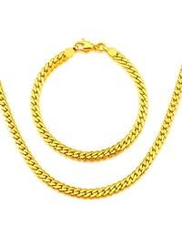 Los nuevos hombres de moda de joyería de oro de 18 quilates chapado en cadena de la serpiente de la joyería collar pulsera nb60037