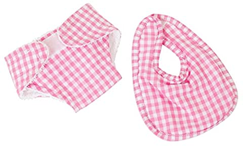 FRILLY LILY PINK GINGHAM NAPPY AND BIB SET FOR 12-14