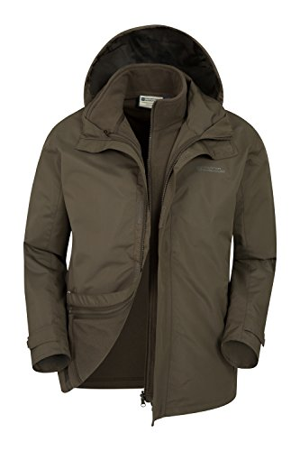 Mountain Warehouse Fell 3 in 1 Herrenjacke wasserdicht warm Regenjacke Winterjacke Übergangsjacke Funktionsjacke mit Fleece-Innenteil Khaki Large (Snowboard Jacke Khaki)