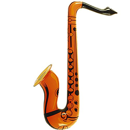 Deko Saxofon Blues Musikinstrument orange Jazz Blasinstrument aufblasbar Aufblasbares Saxophon Karnevalskostüme Zubehör Mottoparty Partydeko Luft Musik Instrument