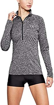 Under Armour Women's Tech 1/2 Zip - Twist-Blk T-Shirt, Black (Black/Metallic Sil