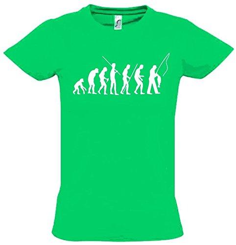 ANGELN - FISCHEN Evolution Kinder T-Shirt green-weiss, Gr.164cm