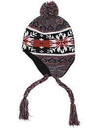 "Mütze ""Peru"", mit Fleece - grau/rot"