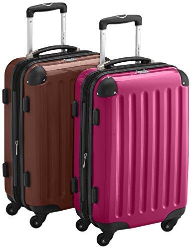 HAUPTSTADTKOFFER - Alex - 2 x Handgepäck Hartschale glänzend, TSA, 55 cm, 42 Liter, Graphit-Apfelgrün Magenta-Braun