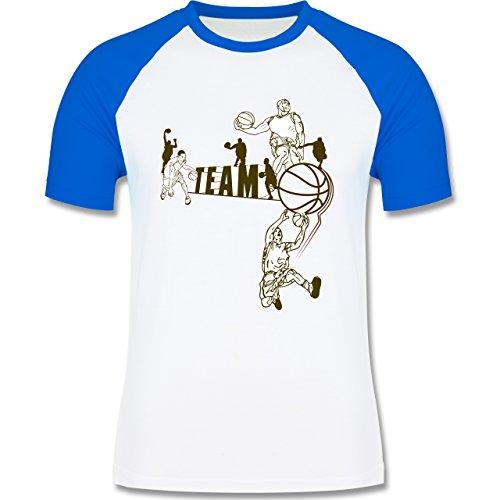 Basketball - Basketball Team - zweifarbiges Baseballshirt für Männer Weiß/Royalblau