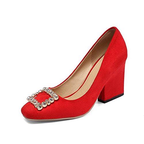 AgooLar Damen Rein Nubukleder Hoher Absatz Quadratisch Zehe Ziehen Auf Pumps Schuhe Rot
