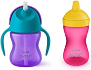 Philips Avent Grippy Spout Cup, 300ml, Multicolor with Philips Avent SCF796/00 Aven Straw Cup 200 ml (Assorted