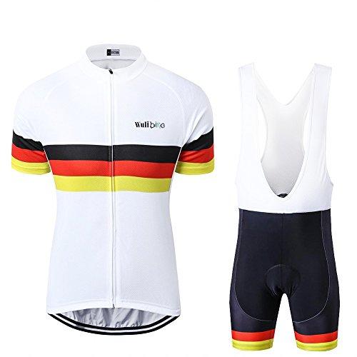 Herren Country Flag Radtrikot Set Kurzarm Bike Shirt und Trägerhose Set Nations DE/UK/FR/IT
