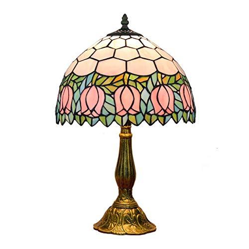 Bronze Tiffany Tischlampe (Light-GYH 12-Zoll-Tiffany-Stil Bronze Basis Tischlampe Schlafzimmer Nachttischlampe mit Glasmalerei Schatten Schreibtisch Licht für Wohnzimmer Schreibtisch E27)