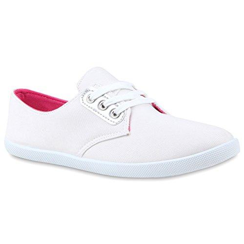 Damen Sneakers Low-Top Metallic Turnschuhe Schuhe Weiß