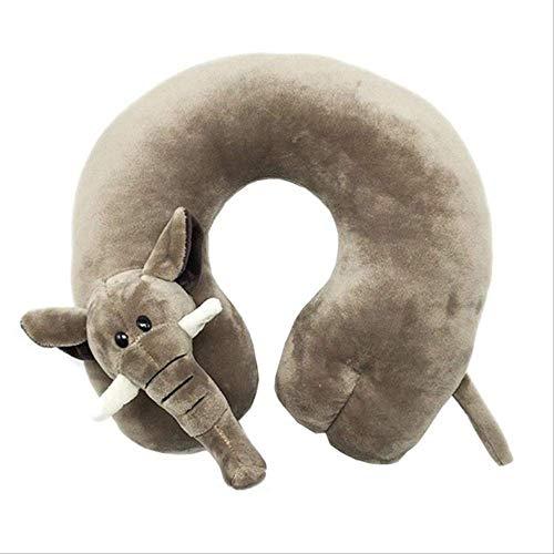 Kinder Kinder U-Förmige Plüsch Kissen, Reise Kissen, Cartoon Tier Auto Kopfstütze, 5 Stile Weiche Kissen Für Reisen 30 * 32 * 9Cm Elefant - Elefanten Weichen Kissen