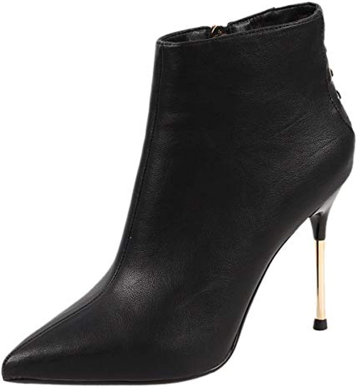 HBDLH Chaussures pour Femmes/Les Talon Dentelles Les Bottes La Hauteur du Talon Femmes/Les A 10 Cm Sexy Bottes Mince Maigre Talons... 1eccca
