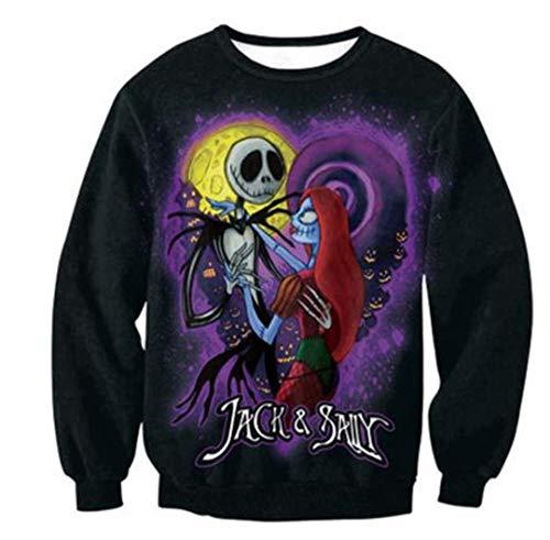 (Halloween Harajuku 3D Print Die Nacht vor Weihnachten Jack Skellington Skull Sweatshirts B XXXL)