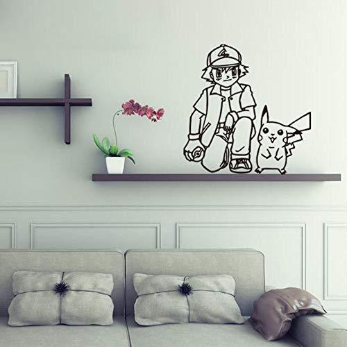 Cartoon Pikachu Vinyl Wandtattoo Wohnkultur Für Kinderzimmer Kunstwand Entfernbare Wandaufkleber 57 * 57 cm