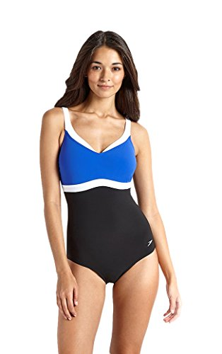 Speedo Female Swimwear Sculpture Aquajewel One Piece (810414A719_Black and Blue_34)