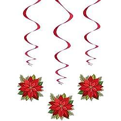 Lote de 3 adornos de Navidad que cuelga en forma de flor de pascua de Navidad / vacaciones de diciembre