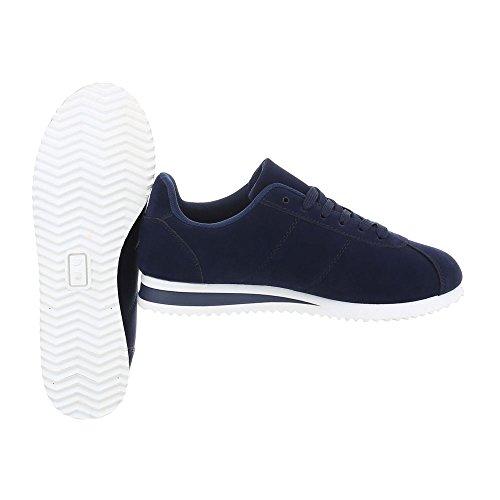 Sneakers Low Damenschuhe Sneakers Low Sneakers Schnürsenkel Ital-Design Freizeitschuhe Dunkelblau AB-187