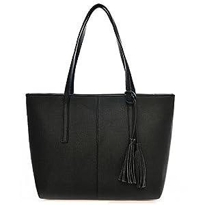 TIBES bolso mujeres bolso negro Bolsos de mano bolsos bolso de cuero PU B Gris