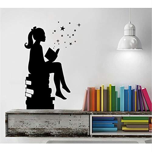Mädchen Lesen Bücher Magie Wandtattoo Schlafzimmer Vinyl Kunst Aufkleber Für Schulen Klassenzimmer Bibliotheken Home Raumdekoration Wandbild 57X88CM