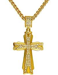 """Gudeke Collar de los hombres 18k real Cruz chapado en oro diamante pendiente con la cadena cubana 32 """""""