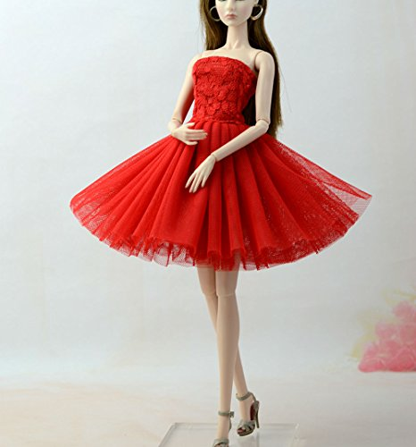 Stillshine Ballett Rock Abendkleid Ballkleid Prinzessin Kleidung Dress Kleider Bekleidung Kleid Meerjungfrau für Barbie Puppen Party Geschenke (Ballett Rot)