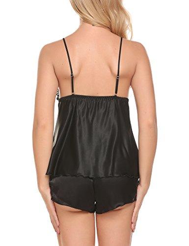 Avidlove Damen Zweiteiliger Schlafanzug kurz Nachtwäsche Nachthemd Pyjama Shorts Spitze Schwarz