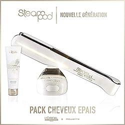 L'oreal - Pack Steampod 2.0 - fer à lisser vapeur nouvelle génération + Crème de lissage cheveux épais 150ml