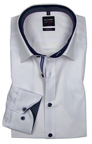 OLYMP Level Five Comfort Stretch Body fit weiß 0560-64-00 langarm Patch dunkelblau Weiß