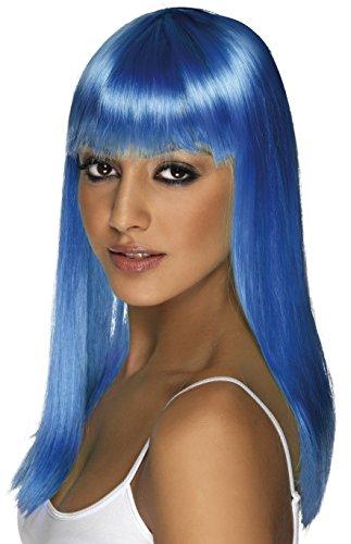 Smiffys Damen Lange und Glatte Perücke mit Pony, Glamourama Perücke, Neon Blau, One Size, (Perücke Blau Neon)