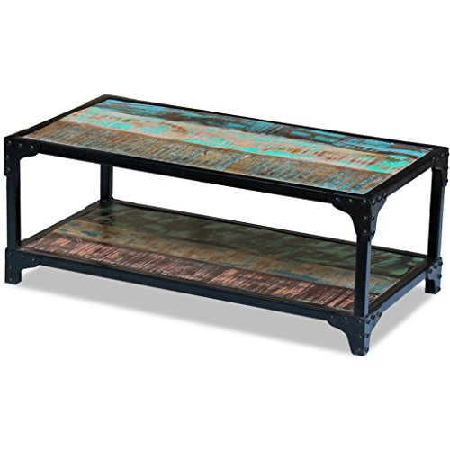 Festnight Table basse en Bois Design Vintage de récupération massif 90 x 45 x 35 cm