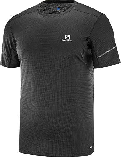 Salomon l40209900, t-shirt sportiva a maniche corte agile ss, jersey doppio uomo, nero, s