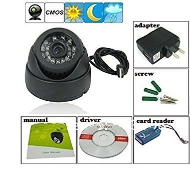 FINICKY WORLD (TM) CCTV Dome 24 IR Night Vision Camera DVR with Memory Card Slot Recording (USB)