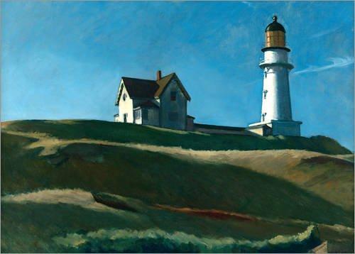 Posterlounge Leinwandbild 100 x 70 cm: Leuchtturm Berg von Edward Hopper - fertiges Wandbild, Bild auf Keilrahmen, Fertigbild auf Echter Leinwand, Leinwanddruck (Edward Art Hopper Fine)