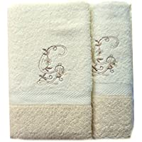 (G). Juego de 3 toallas beije(100x150, 50x100, 50x30) LETRAS INICIALES BORDADAS, 100%algodón,, fabricado en CEE.
