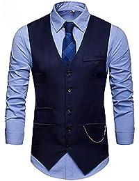 Showu Paisley Gilet Homme Sans Manches Slim Fit Ancien Rétro Double Boutonnage Costume Blazers