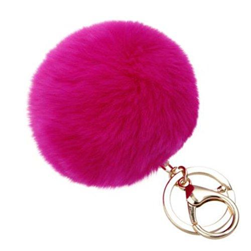 BZLine® Schlüsselanhänger für Auto Pom Pom Tasche Anhänger Charm (Hot Pink)