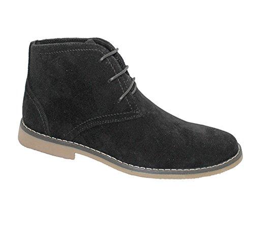 Pour Homme En Daim désert Bottes d'hiver Casual à lacets cheville haute Top Classic chaussures Taille Noir