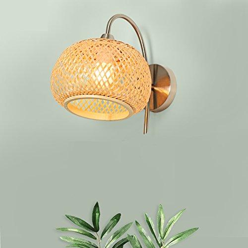 WUTONG Einfache moderne japanische Art Nachttischlampe Bambus Kunst gewebt Schatten Laternen LED Wohnzimmer Gang Flur Lampe Schlafzimmer Wandleuchte