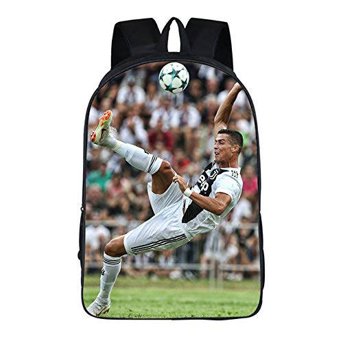 ulrucksack Fußbälle Stern Cristiano Ronaldo Schultaschen Jungen Cool Personalisierte Bookbag Männer Reise Rucksack Rucksack ()