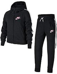 Nike G NSW TRK PE Chándal, Niñas, Negro (Black/White/Pink), S