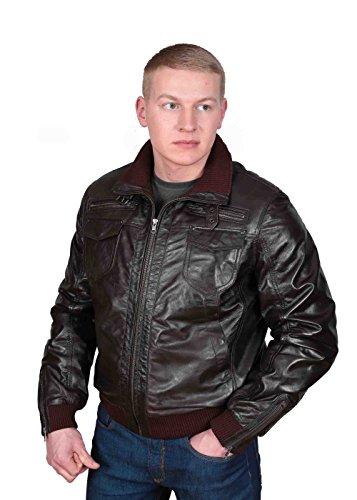 Herren Gepaßte Bomber Lederjacke Designer weiche hochwertige Mantel George Braun - 6