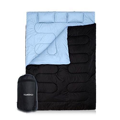 Tomshoo sacco a pelo doppio matrimoniale con 2 cuscini,si trasforma in 2 sacchi a pelo singoli,210x152cm extra large, 0℃ ~ 10℃/32f-50f per campeggio trekking, escursioni, attività all'aria aperta