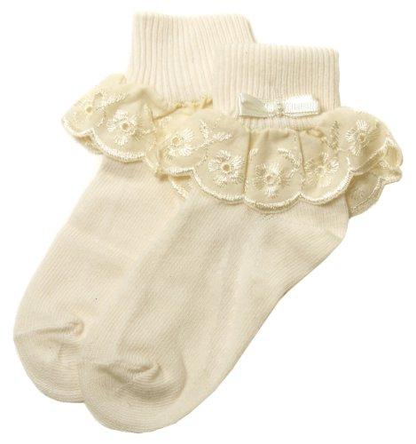 Elfenbeinfarben Rüschen Socken Elfenbein bestickt Blumen Spitze für Baby und Kleinkind Mädchen bis zu 9Jahre, Elfenbein (Blumen-mädchen-socken)