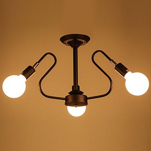Kreative Restaurant Schlafzimmer Leuchten Kunst Wohnzimmer Study Lampen Eisen Deckenleuchten (Farbe: Schwarz) (Was Man Eisen Auf)