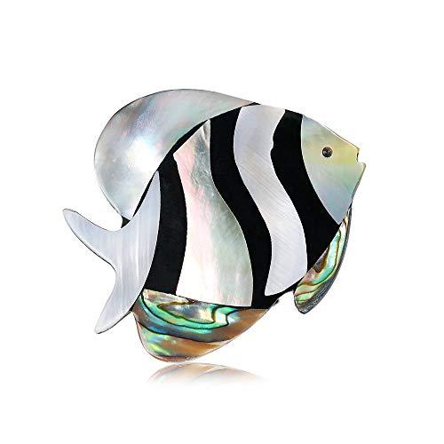 SKZKK Abalone Paua Muschel Tropische Fische Brosche Pins Broschen für Frauen Handmade Craft Corsagen Schal Clip Schmuck Damen Accessoires für Frauen -