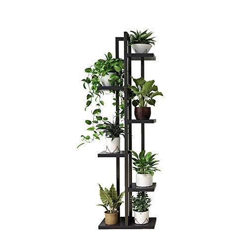 TUYIROE Bodenstehende blumenständer Balkon mehrschichtige kreative blumentopf Rack Wohnzimmer Schlafzimmer multifunktions Stahl Holz Blume Stehen (Color : Black) - Schlafzimmer Stahl-bank