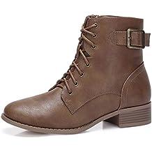 026b703113206 CAMEL CROWN Botines Mujer Combat Boots Buckle STRP Zip Botas Antideslizante  Cómodo para Casual Diario Compras
