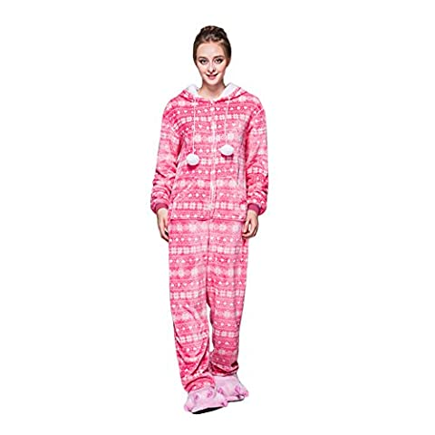 FeelinGirl Ladies Soft Warm Winter Cosy Fleece Onesie Pyjamas All in One Nightwear Pink M
